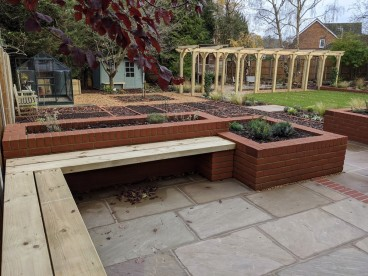 A comfortable dining space with views over the veg garden