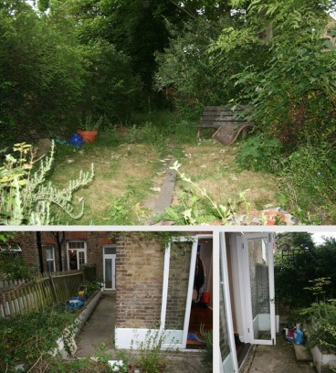 The dark & uninviting  existing garden